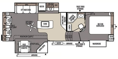 View Floor Plan for 2015 FOREST RIVER ROCKWOOD SIGNATURE ULTRA LITE 8289WS