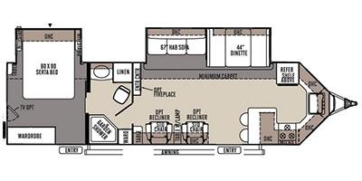 View Floor Plan for 2015 FOREST RIVER ROCKWOOD WINDJAMMER 3008W