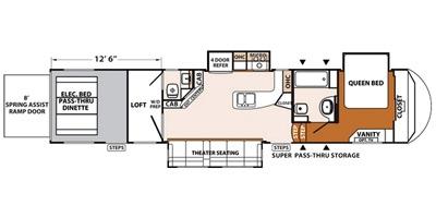 View Floor Plan for 2015 FOREST RIVER XLR THUNDERBOLT 375AMP