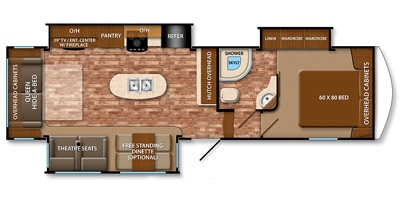 View Floor Plan for 2015 GRAND DESIGN REFLECTION 303RLS