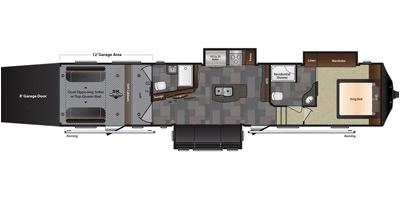 View Floor Plan for 2016 KEYSTONE FUZION 422