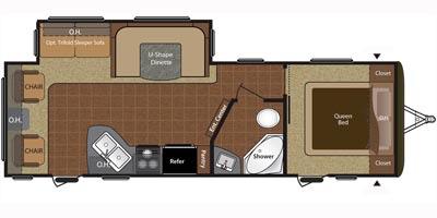 View Floor Plan for 2016 KEYSTONE HIDEOUT 26RLS