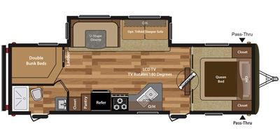 View Floor Plan for 2016 KEYSTONE HIDEOUT 28BHS