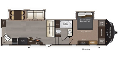 View Floor Plan for 2015 KEYSTONE MONTANA HIGH COUNTRY 293RK