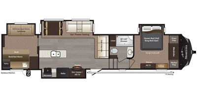 View Floor Plan for 2015 KEYSTONE MONTANA HIGH COUNTRY 340BH