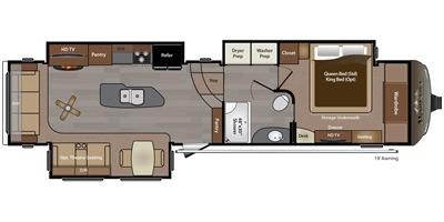 View Floor Plan for 2016 KEYSTONE MONTANA 3720RL