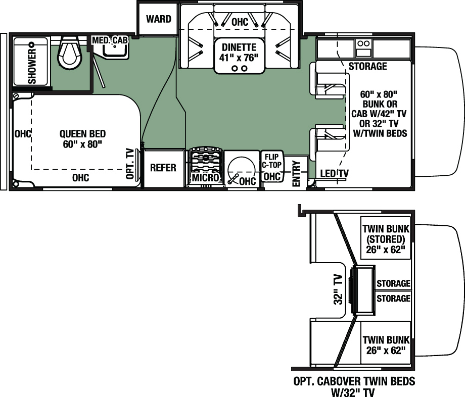 View Floor Plan for 2016 FOREST RIVER FORESTER 2291SF
