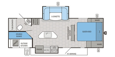 View Floor Plan for 2016 JAYCO WHITE HAWK 25BHS