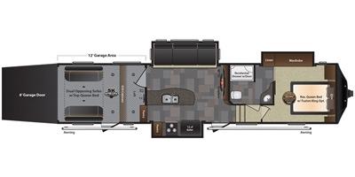 View Floor Plan for 2016 KEYSTONE FUZION 345