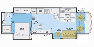 View Floor Plan for 2016 WINNEBAGO ADVENTURER 37F