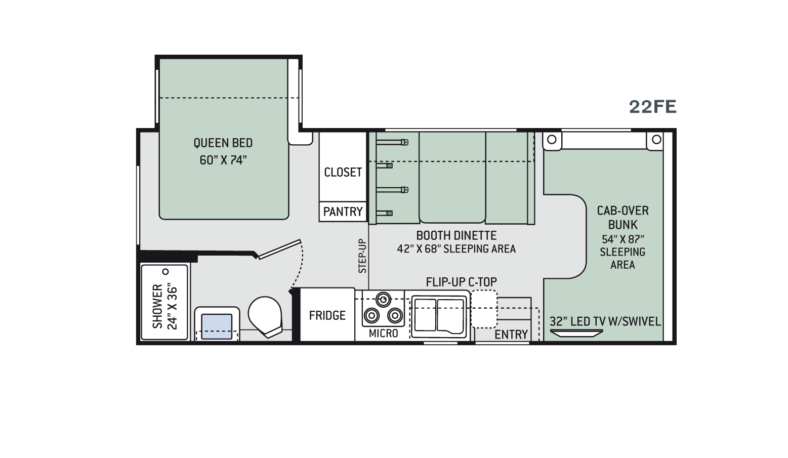 New 2016 thor freedom elite 22fe class c for sale 1226328 for Floor plans for motorhomes