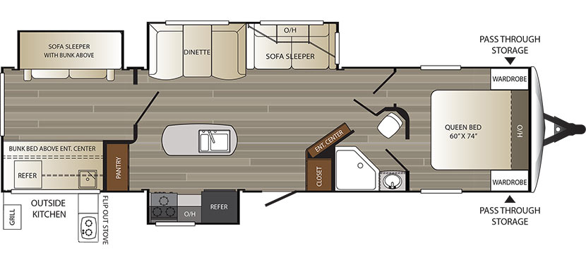 View Floor Plan for 2016 KEYSTONE OUTBACK 325BH