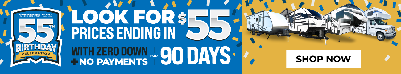 55th Birthday Celebration: Look for Prices Ending in $55 with zero down and no payments for 90 days