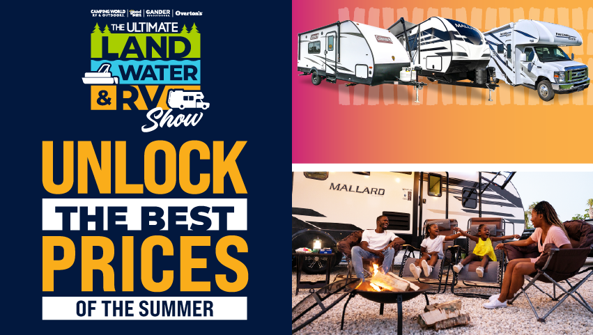 The Ultimate Land, Water RV Show: Unlock the best prices of the summer; shop show pricing / stream